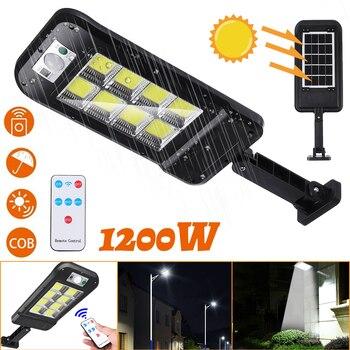 1200W 160COB LED Waterproof Solar Light PIR Motion Sensor Remote Control Garden Lamp Outdoor Solar Street Lamp Street Lights 1
