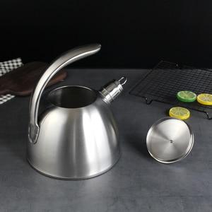 Image 2 - 3L Stahl Wasser Kochen Wasserkocher 304 Pfeife Wird Kapazität Kochendem Wasser Wasserkocher Haushalt Flachen Boden Kohle Gas Elektromagnetische Ofen
