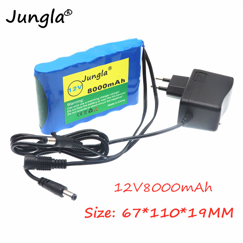 2020 Original Portable Super <font><b>18650</b></font> Rechargeable Lithium Ion <font><b>battery</b></font> <font><b>pack</b></font> capacity DC 12 V 8000 Mah CCTV Cam Monitor+charger image