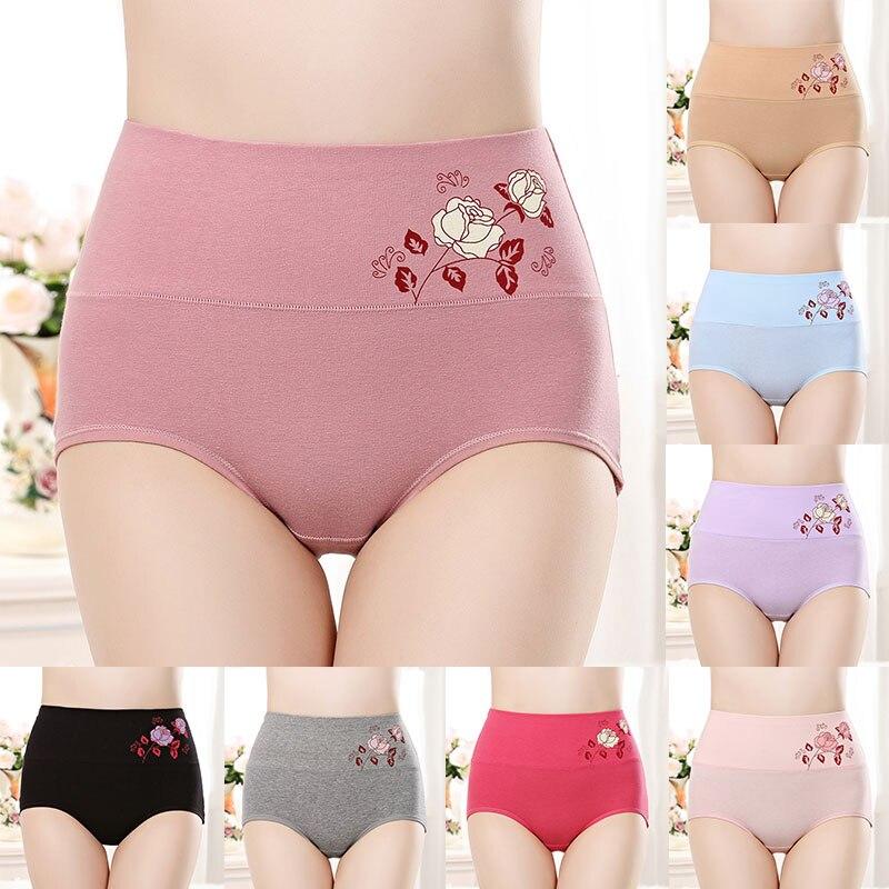 Lady Briefs panties High Waist Pants Underwear High-Rise Floral Lingerie briefs Cotton Comfortable Panties Women Lingerie Briefs