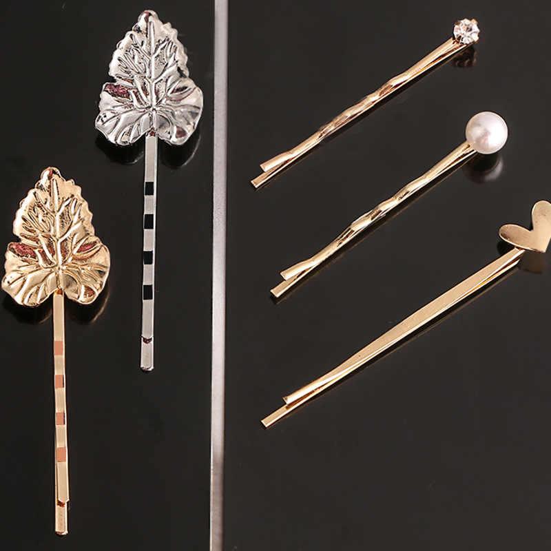 Geometrik tokalarım saç klipleri tokalar kadınlar kız altın Metal Hairgrips saç aksesuarları Headdress firkete şapkalar