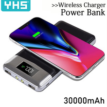 30000 мАч Внешний аккумулятор внешний аккумулятор встроенный беспроводной аккумулятор портативное QI Беспроводное зарядное устройство для iPhone 8 8plus XS