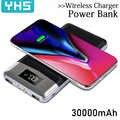 Banco de la energía 30000mah Banco de la batería externa cargador inalámbrico incorporado banco de energía portátil QI cargador inalámbrico para iPhone 8 8plus XS