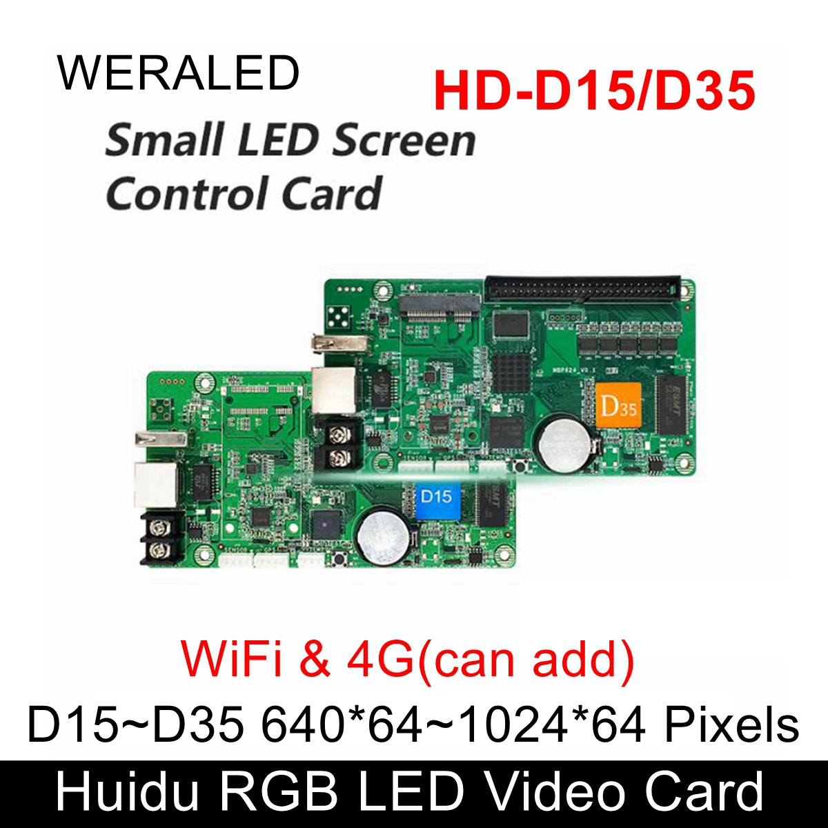 Huidu Asynchronization HD-D15 Full Color LED Video Controller 192*128 pixels ,Support WiFi & 4G extend (buy modular alone) image