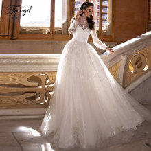 Роскошное кружевное свадебное платье трапеция с высоким воротом