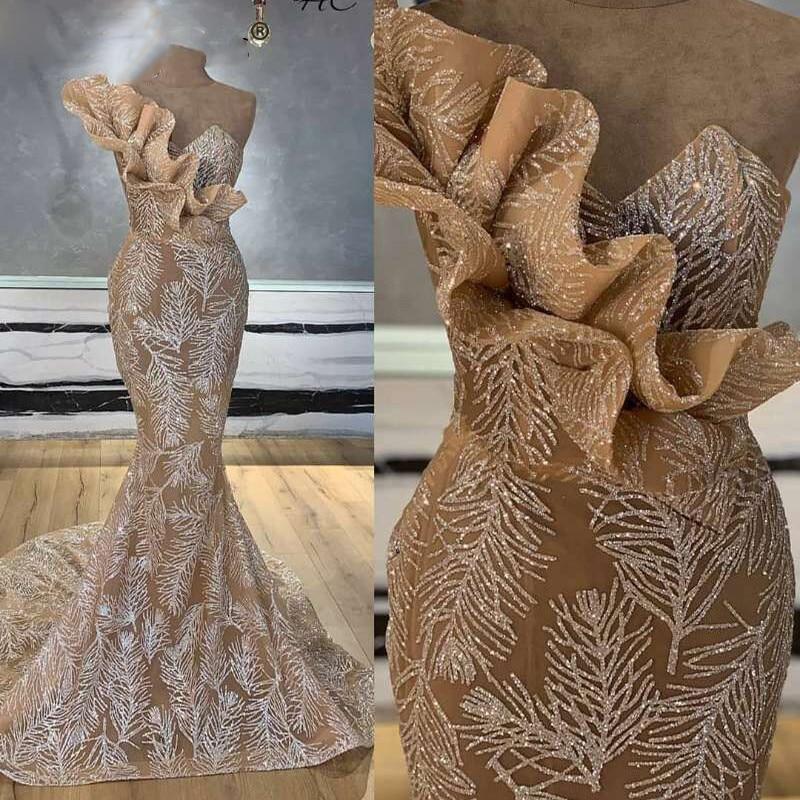 Glitter Silver Sequin Champagne Mermaid Evening Gowns Dubai Ruffles Long Arabic Formal Dress Women Elegant Prom Dresses 2020 New