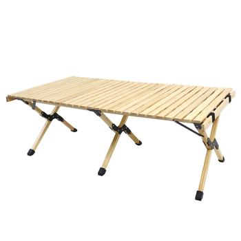 Camping składany stół z drewna-przenośny składany piknik na świeżym powietrzu stół z jajkiem drewniany stół w torbie na piknik obóz podróż Gar tanie i dobre opinie Lighten Up CN (pochodzenie) roll table solid wood