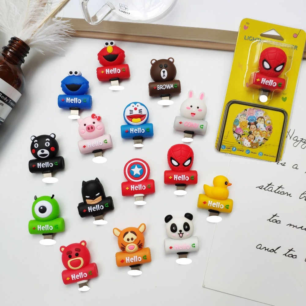 Cute Cartoon 2 in 1 Audio Adapter Charger And Headphone Splitter Animals Phone Socket For iPhone 7 8 Plus X Earphone Accessories