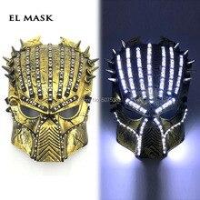 GZYUCHAO EL Carnival Rave Light Up Flashing Mask Led Luminous Predator Mask Halloween Mask Glow In Dark цена и фото