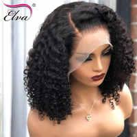 Frente de encaje pelucas de cabello humano, sin pegamento 360 peluca Frontal de encaje Elva Pelo Corto peluca con malla Frontal rizado peluca Bob Pre arrancó cabello 8-18'