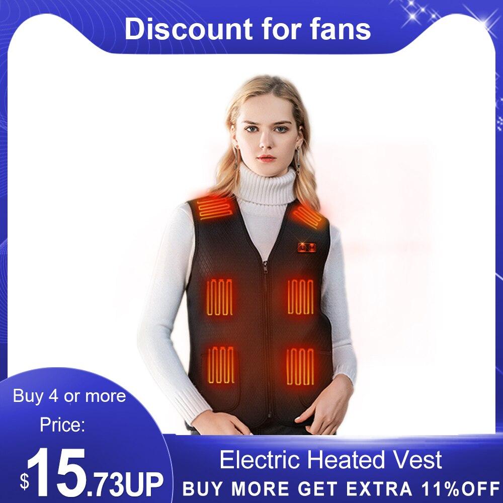 Жилет с подогревом для мужчин и женщин, моющаяся жилетка с подогревом, теплая одежда с 7 зонами нагрева, уличный жилет с подогревом Usb