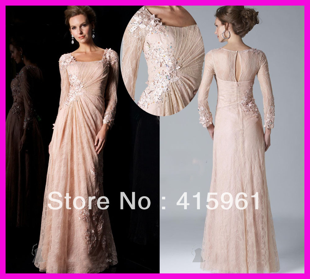 Vestido De Madrinha Fabulous Pink Lace Full-length Mother Of The Bride Dresses Evening Dress Gown With Long Sleeves For Weddings