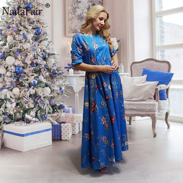 Nadafair Boho Floral Maxi Dress Woman Plus Size High Waist O Neck Printed Elegant Summer Beach Long Dresses Female Vestidos 6