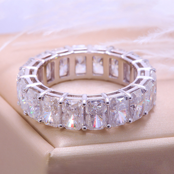 Solid 14K  silver ring White Gold Wedding Ring   3