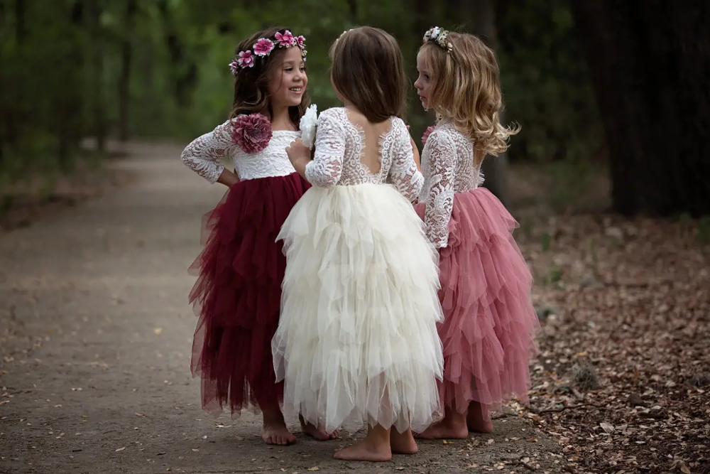 Communion Dresses Flower Girl Dresses 2020 Tulle Lace Long Sleeves Girl Party Dress Vestidos De Comunion