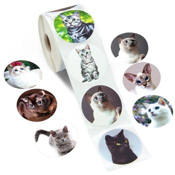 100-500pcs Creative Animals Cat Stickers 1inch Labels Reward Sticker For School Teacher Kids Smiley Stationery - discount item  50% OFF Stationery Sticker