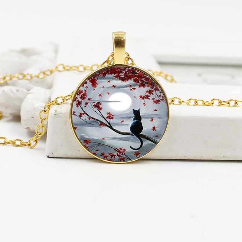 Baru Klasik Moon Kucing Kristal Kaca Kalung Perhiasan Eropa dan Amerika Paduan Liontin Retro Aksesoris