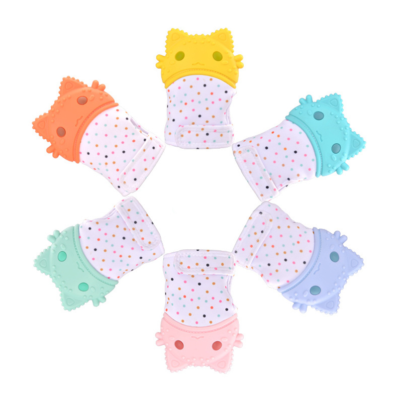1Pcs DIY Baby Silicone Mitts Teething Cartoon Glove Teether Newborn Chewable Nursing Mittens Safe Certification Baby Teether Toy