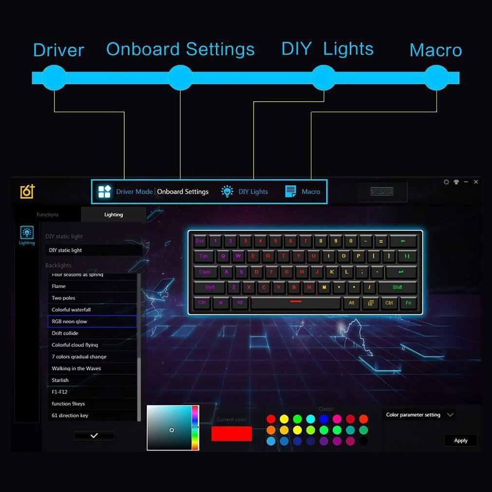 GK61 הניתן להחלפה 60% RGB מקלדת מותאם אישית ערכת PCB הרכבה צלחת מקרה גיימר תחושה מכאנית מקלדת משחקי RGB מקלדת