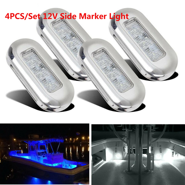 4x 3 LED 12V Boat Stair Deck Side Marker Light Courtesy Lights Indicator Turn Signal Lighting Marine Boat Accessory Taillight