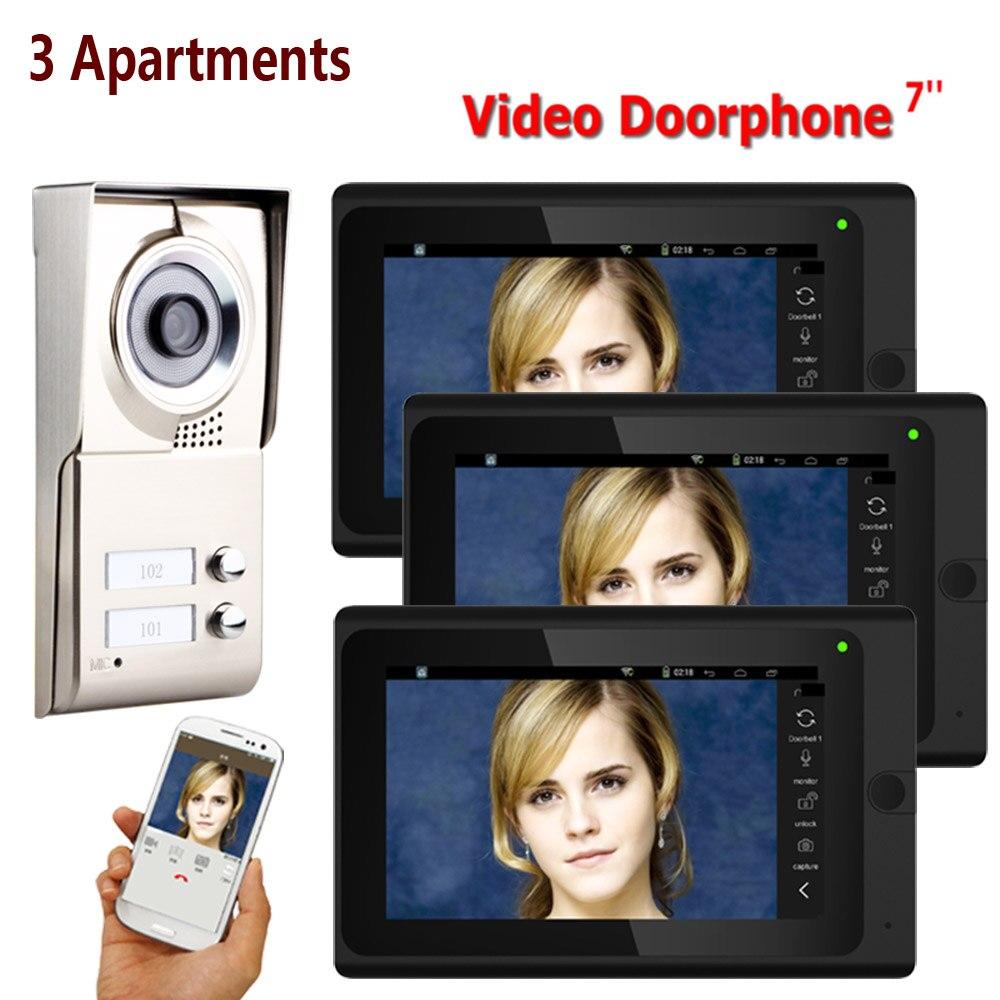 "GAMWAER 7"" Wired Wifi 2-3 Units Door Intercom 1000TVL 2-way Audio Video Doorbell Doorphone Multi Home Apartment Entry Kit"