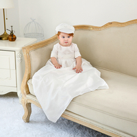 Baby Boy Christening Gown Floor Length Baptism Dress High Quality Children Clothes White Satin Baby Formal Christening Robe