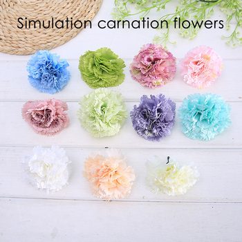 10PCS/multi-carnation artificial flower head DIY wedding home decoration DIY wreath boss gift bride wedding decorate fake flower image