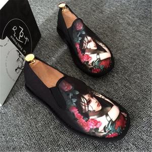 Image 4 - אביב אופנה דירות נעלי נעליים חצאיות נעלי בד אור קשה ללבוש 2019 איש נשים בד Harajuku גומי בד לרקום נעליים
