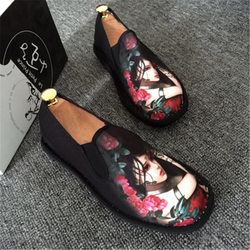 Image 4 - Spring Fashion Flats Shoes Espadrilles Loafers Light Hard Wearing 2019 Man Women Canvas Harajuku Rubber Canvas Embroider Shoes-in Men's Casual Shoes from Shoes