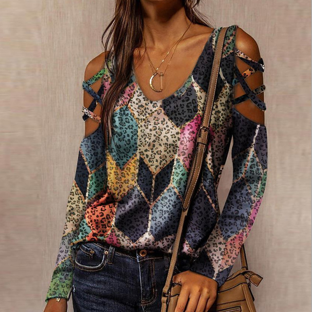 Sexy Hollow Out Long Sleeve Blouses Shirts Casual O-Neck Off Shoulder Pullover Tops Women Fashion New Lip Print Shirt Blusas 3XL 6
