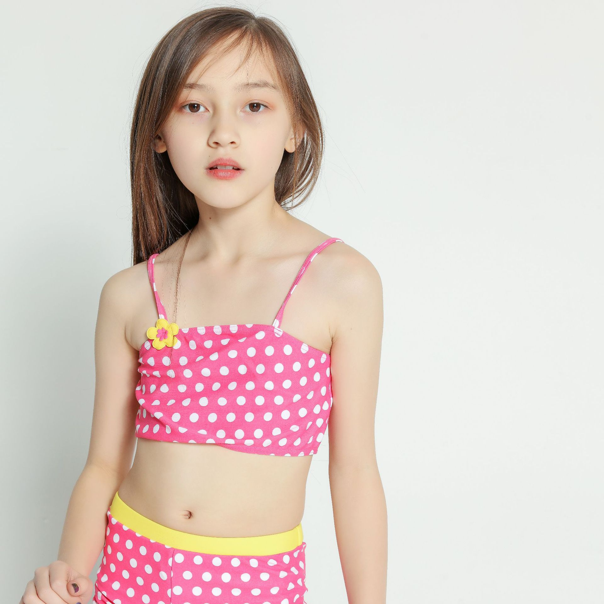 New Style Children Two-piece Swimsuits Pink Dots Split Type Girls CHILDREN'S Swimwear Special Offer
