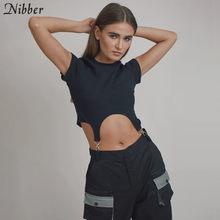 Nibber – t-shirt à col rond pour femme, coupe slim, design irrégulier, simple, à la mode, harajuku