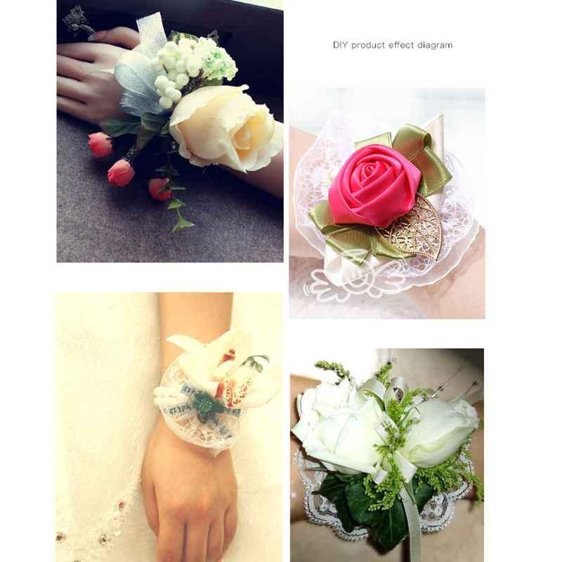 Pulsera de flores de hilo de red de perlas artificiales de ramillete de muñeca de boda para mujer