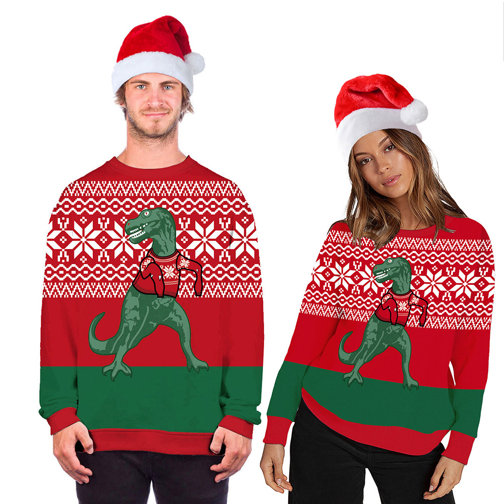 Ugly Christmas Sweaters Jumper Tops New 3D Dinosaur Print Men Women Xmas Pullover Hoodie Sweatshirt Autumn Christmas Sweater