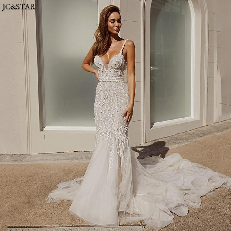Robe De Mariee 2020 Spaghetti Straps Lace Beads Sequins Bridal Gowns Sexy Open Back Sweep Train Mermaid Beach Wedding Dress