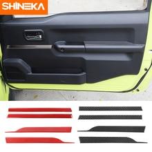 Shinekaカーボンファイバーステッカースズキジムニースズキジムニー用JB74 車のドア内装ステッカーアクセサリー 2019 2020