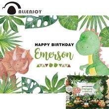 Allenjoy Fondo de fiesta de dinosaurio de dibujos animados, planta verde de feliz cumpleaños, Fondo de foto de jungla, banderines de vinilo