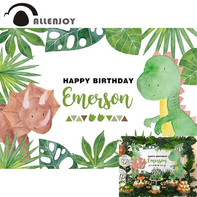 Allenjoy sevimli karikatür dinozor parti zemin mutlu doğum günü yeşil bitki orman fotoğraf arka plan bebek duş Econ vinil afişler