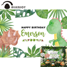 Allenjoy חמוד קריקטורה דינוזאור רקע מסיבת יום הולדת שמח ירוק צמח ג ונגל רקע תמונה תינוק מקלחת Econ ויניל באנרים