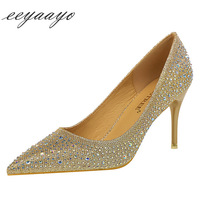 2019 New Spring/Autumn Women Pumps High Thin Heel Pointed Toe Crystal Bridal Wedding Women Shoes Champagne Sexy Ladies High Heel