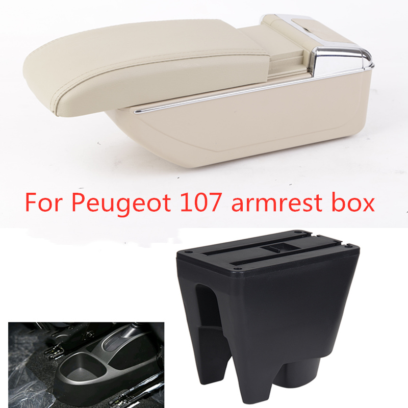 For Peugeot 107 Armrest Box Central Store Interior Armrest Storage Car-styling Accessories With Cup Holder Ashtray Products USB