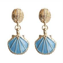 цены на TEH Europe America Vintage Ocean Wind Shell Drop Earrings For Women Jewelry Geometric Alloy Blue Pink Black Statement Earrings  в интернет-магазинах