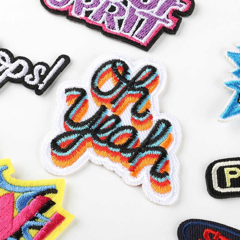 Etiqueta engomada de la cinta de tira larga de la letra inglesa de moda bordado por ordenador accesorios de ropa al por mayor calcomanías de parche parches de hierro