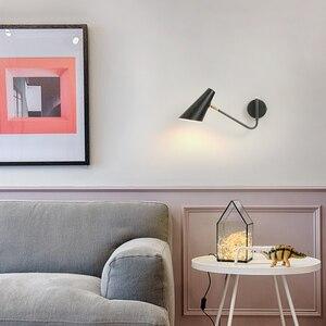 Image 3 - Nordic Classic adjustable modern industrial Long swing arm black wall lamp sconce vintage E27 lights for Bathroom bedroom foyer