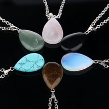 Fashion Natural Stone Quartz Crystal Waterdrop Pendant Chakra Point Healing Gem Necklace For Women/ Men Jewelry(China)
