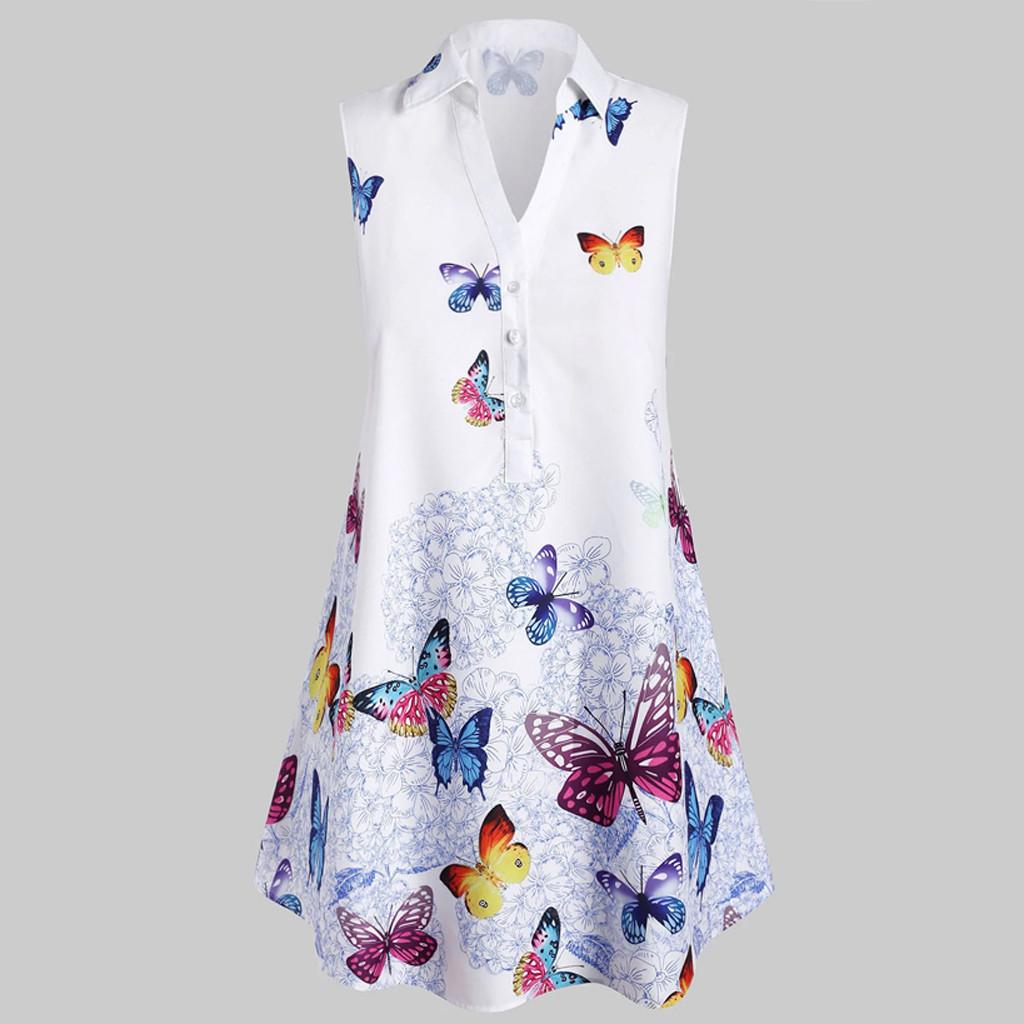 4# Women Butterfly Printed Dresses Plus Size Sleeveless Dress Female Button Turn downcollar Dresses Jurken Zomer 2021 Dames
