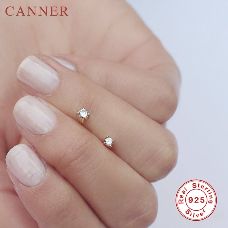 1 pair of 2mm/3mm 925 Sterling Silver Stud Earrings for Women Zircon Gold Silver Color Round Crystal Studs Fashion Jewelry