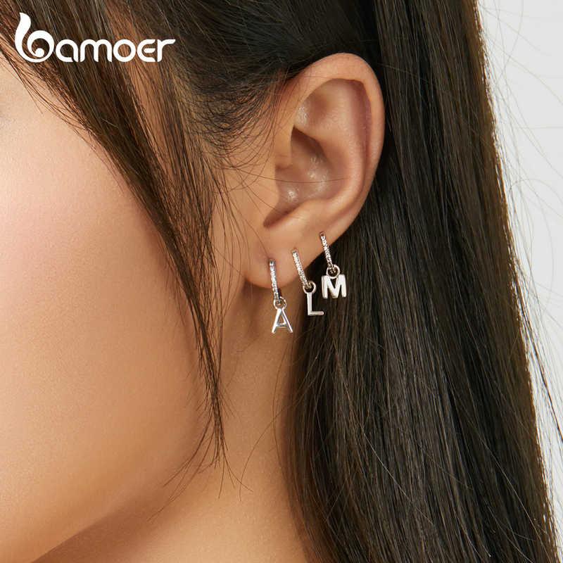 Bamoer 1 peça 925 prata esterlina alfabeto letra balançar brincos para as mulheres de jóias de casamento brincos 2020 nova sce848
