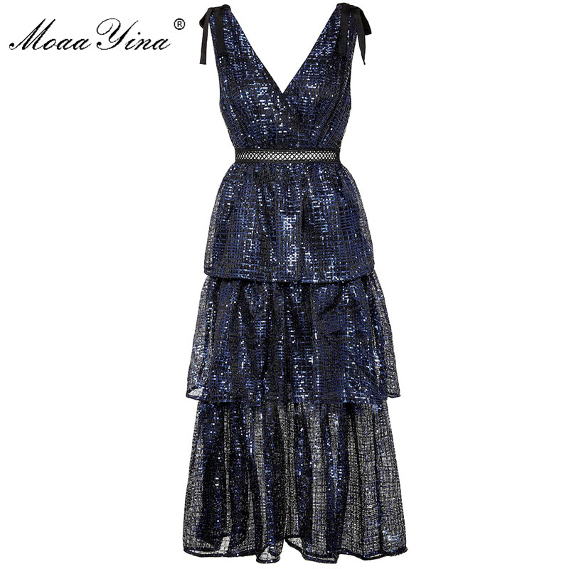 MoaaYina High Quality Autumn New Deep V Mix Color Sequined Women Sexy Midi Navy Blue Elegant Dress
