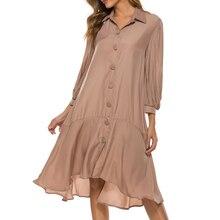 Khaki Color 3/4 Sleeve Irregular Knee Length Loose Dress wit